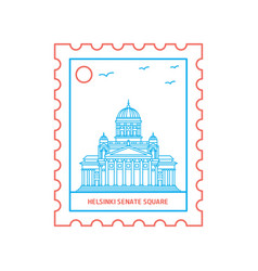 Helsinki senate square postage stamp blue and red vector