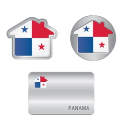 Home icon on the Panama flag vector image vector image