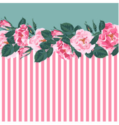 horizontal striped pattern with rose peony vector image