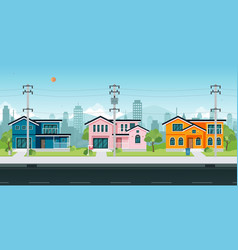 House with electric poles vector