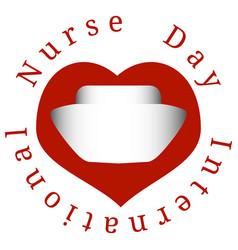 International nurses day hearts nurse cap vector