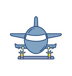 landing plane over runway travel aviation vector image