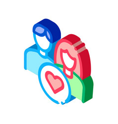 man and girl and heart isometric icon vector image