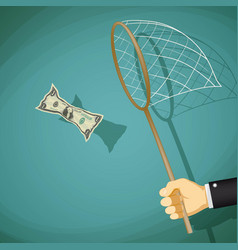 man catches with net a dollar bill vector image