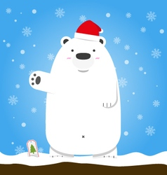Merry Christmas white polar bear wear hat standing vector