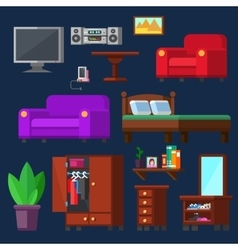Modern Furniture set for rooms of house vector