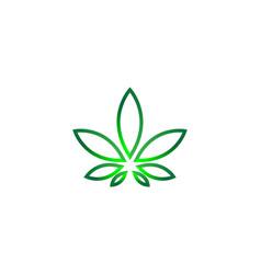 Mono line cannabis leaf logo designs inspiration vector