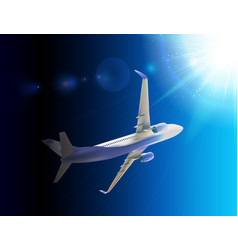 naturalistic 3d passenger plane flying in sky vector image