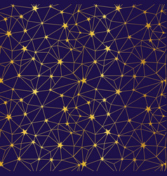 navy and gold stars network seamless pattern vector image