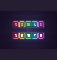Neon composition text gamer headline vector