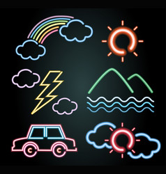 Neon light design for car and nature elements vector
