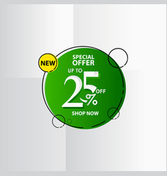 New discount label up to 25 special offer shop vector