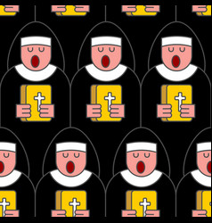 Nun seamless pattern catholic religious woman vector