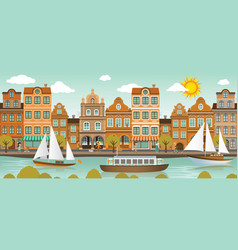 Old town and river european city vector