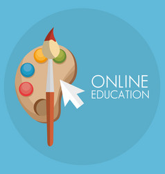 On line education with mouse cursor vector