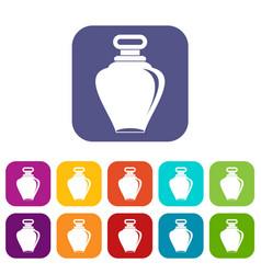 Parfume bottle icons set flat vector