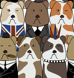 Pattern with English bulldogs vector