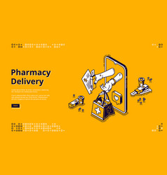 Pharmacy delivery online store banner vector