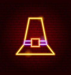 pilgrim hat neon sign vector image