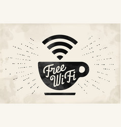 Poster with cup of coffee and text free wifi vector