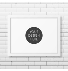 Realistic white frame A4 on the brick wall vector