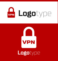 Red lock vpn icon isolated on white background vector