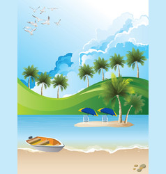 Remote tropical paradise island vector