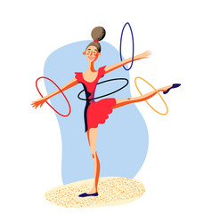 Rhythmic female gymnastics with hoops on white vector