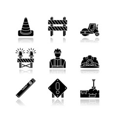 Road works drop shadow black glossy icons set vector