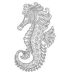 seahorse coloring page vector image