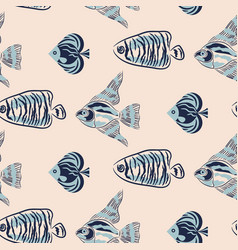 seamless pattern with handdrawn fish design vector image