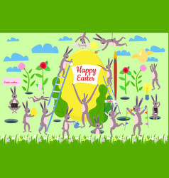 Set cute easter cartoon characters and design vector