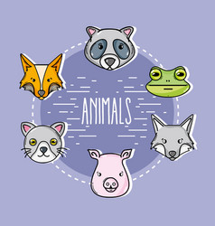 set cute natural animals design vector image