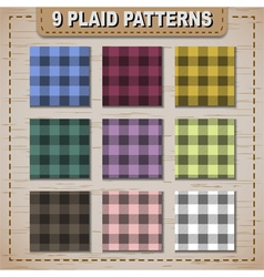 Set of plaid fabric samples in vector