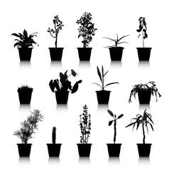 Set silhouettes house plants vector
