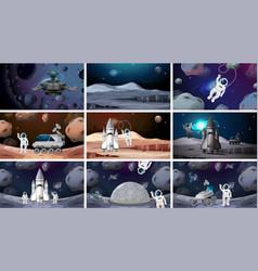 Set various space scenes vector