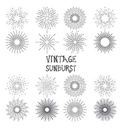 set vintage hand drawn sunbursts vector image