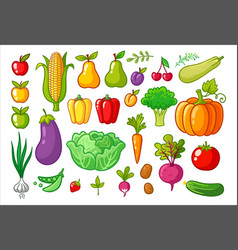 Set with vegetables vector