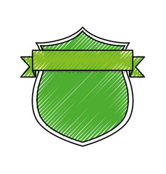 Shield with decorative ribbon icon vector
