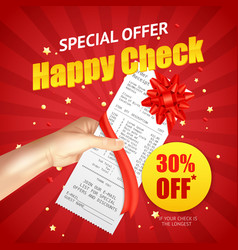 Shopping sale discount receipt realistic banner vector