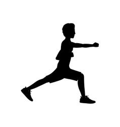 Silhouette man martial arts flex leg with fist vector