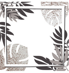 silver tropical leaves with frame vector image