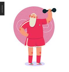 Sporting santa - dumbbell lifting vector