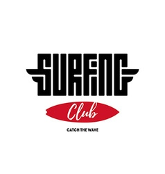 Surfing club - label badge or design elements vector