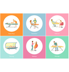 Tanning spa salon and body wrap icons set vector