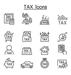 Tax icons set in thin line style vector