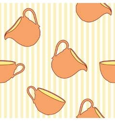 Tea cup seamless pattern on striped background vector