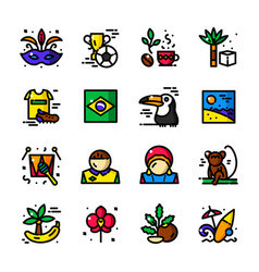 Thin line brazil icons vector