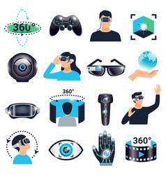 virtual reality visualization simulation icon set vector image