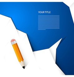 White Paper With Pencil on Blue Background Simple vector image